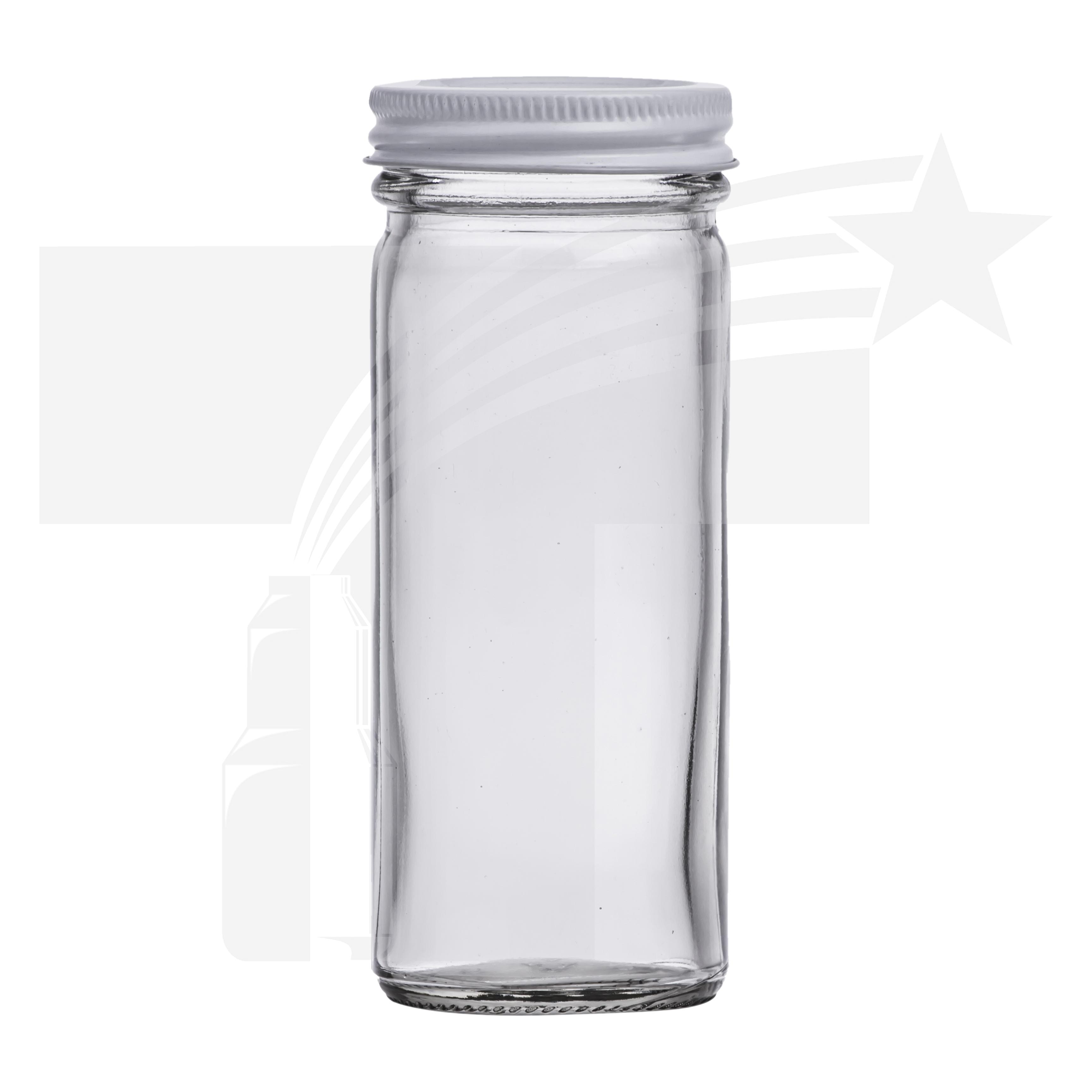 tarro vidrio cilndrico 125 ml r 48 con tapa metlica blanca - Tarros De Vidrio