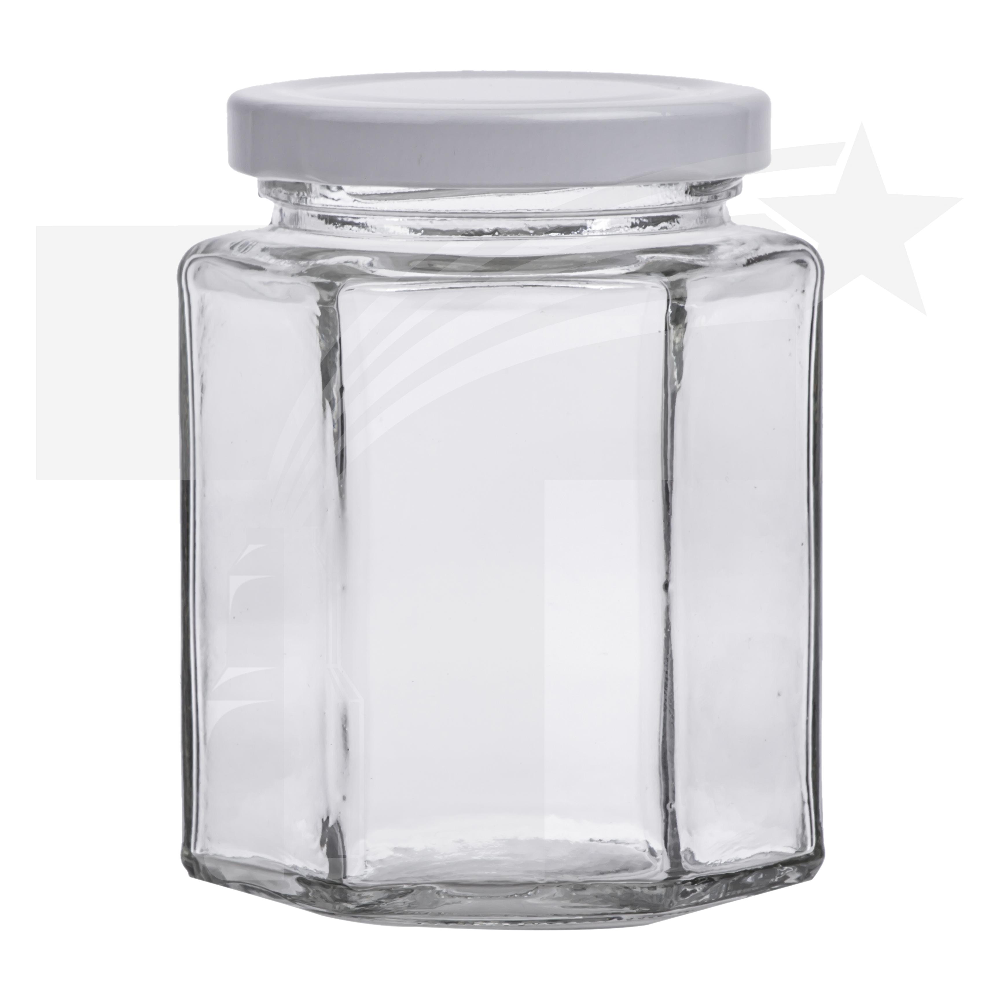 tarro vidrio hexagonal 250ml r 63 con tapa metlica blanca - Tarros De Vidrio