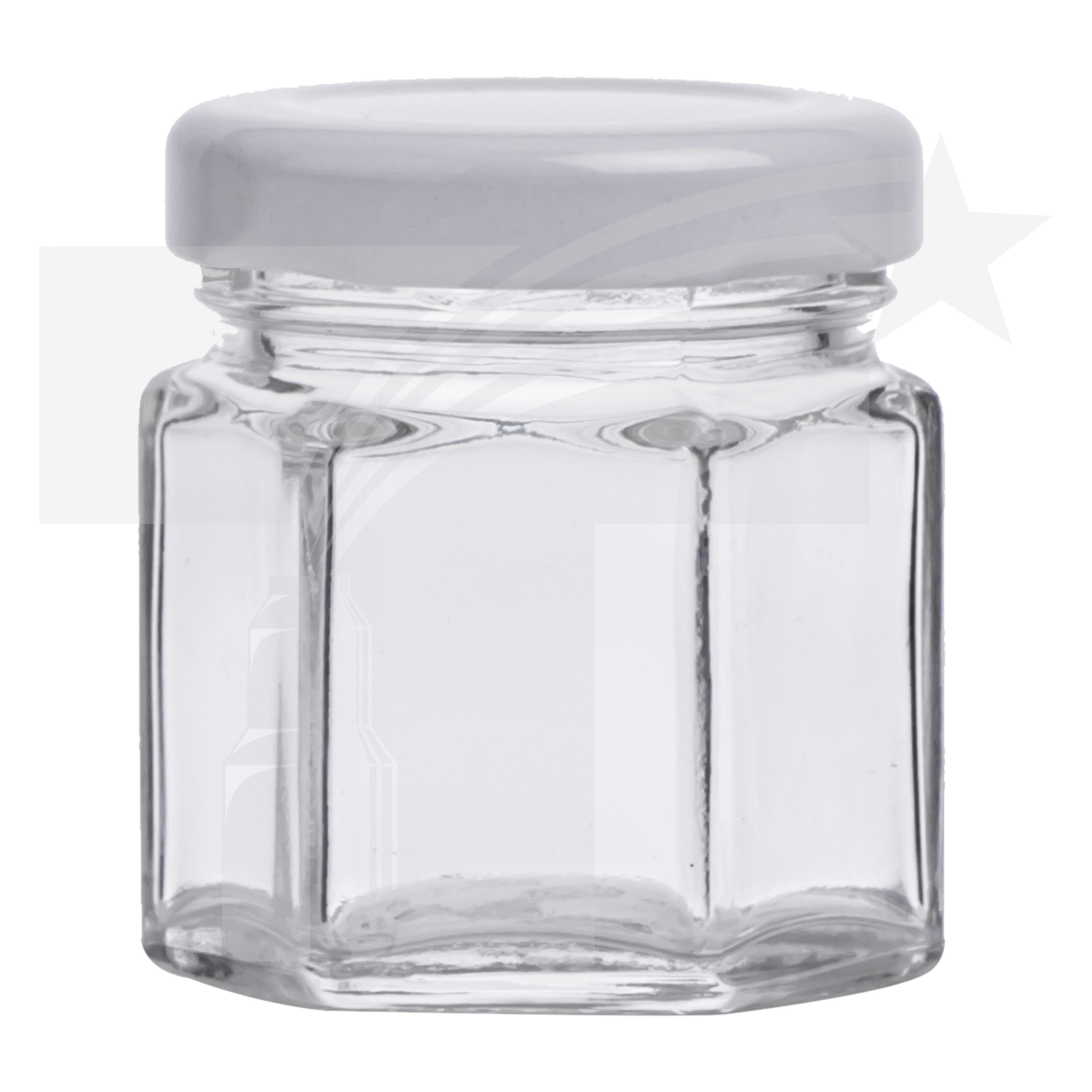 tarro vidrio hexagonal 50 ml r 43 con tapa metlica blanca - Tarros De Vidrio